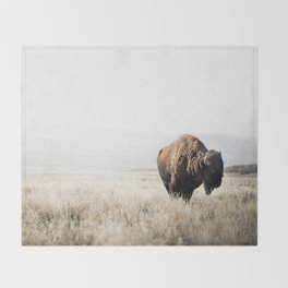 Bison stance Throw Blanket