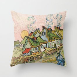 Houses and Figure by Vincent Van Gogh, 1890 Throw Pillow