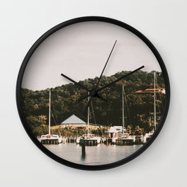 Boats of Roatan Wall Clock