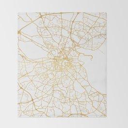 DUBLIN IRELAND CITY STREET MAP ART Throw Blanket