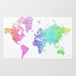 """Rainbow world map in watercolor style """"Jude"""" Rug"""