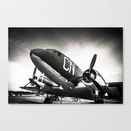 C-47D Skytrain Black and White Canvas Print