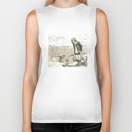 Girl and a Starfish: Whimsical Etching Piece to Carry Around with You. Biker Tank