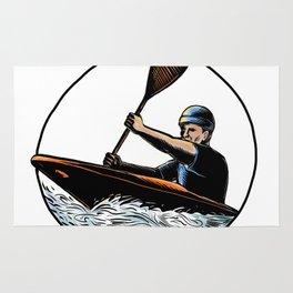 Kayak Paddler Canoe Scratchboard Rug