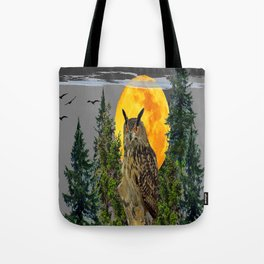 OWL WITH FULL MOON & PINE TREES GREY ART Tote Bag