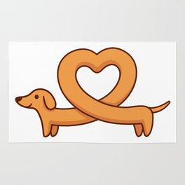 Heart shaped dachshund dog Rug