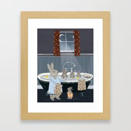 bunny bath time Framed Art Print