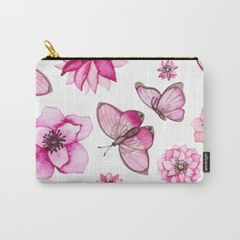Watercolor Pink Flowers and Butterflies Carry-All Pouch