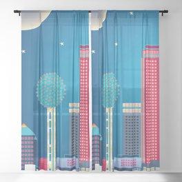 Dallas, Texas - Skyline Illustration by Loose Petals Sheer Curtain