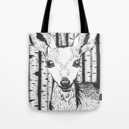 Ink and watercolor black and white doe/deer in the forest Tote Bag