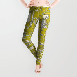 fiendish incisions chartreuse Leggings