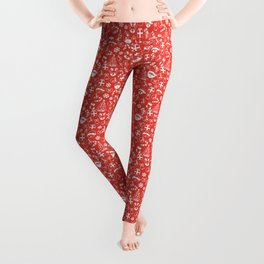 Red and White Christmas Pattern Leggings