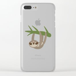 funny and cute smiling Three-toed sloth on green branch tree creeper Clear iPhone Case