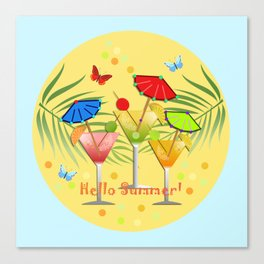 Hello Summer, vector illustration with text Canvas Print