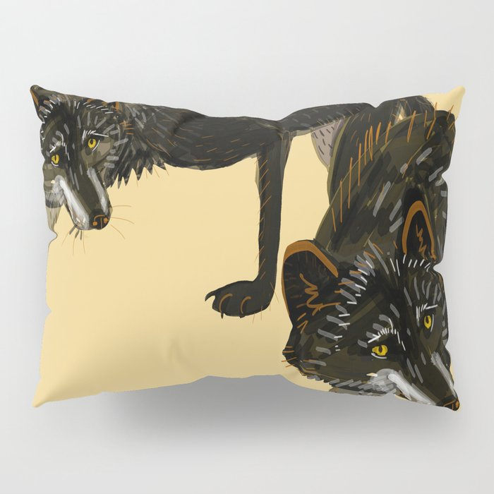 Black wolf totem Pillow Sham