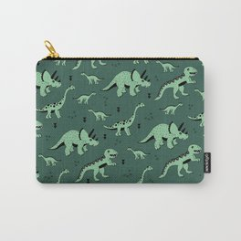 Dinosaur jungle love quirky creatures illustration Carry-All Pouch