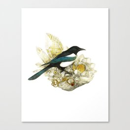 Magpie and Rutilated Quartz Canvas Print