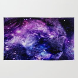 Lion Leo purple blue Rug