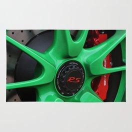 Green Porsche Wheel Rug