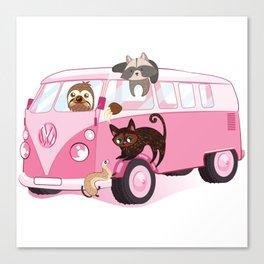 Happy pink bus Canvas Print