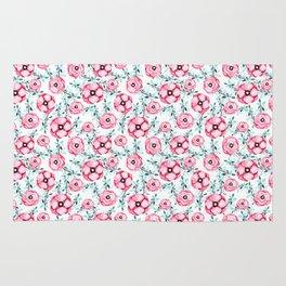 Magenta pink teal aqua watercolor modern floral Rug
