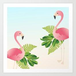 Tropical Flamingos Art Print