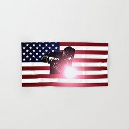 Welding: Welder & American Flag Hand & Bath Towel