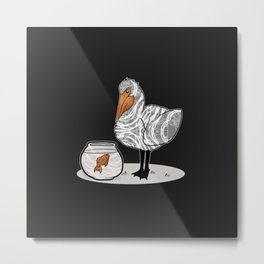 Pelican & Goldfish Bowl, Funny Animal Illustration, Black and White Cute Bird & Fish Graphic Design Metal Print