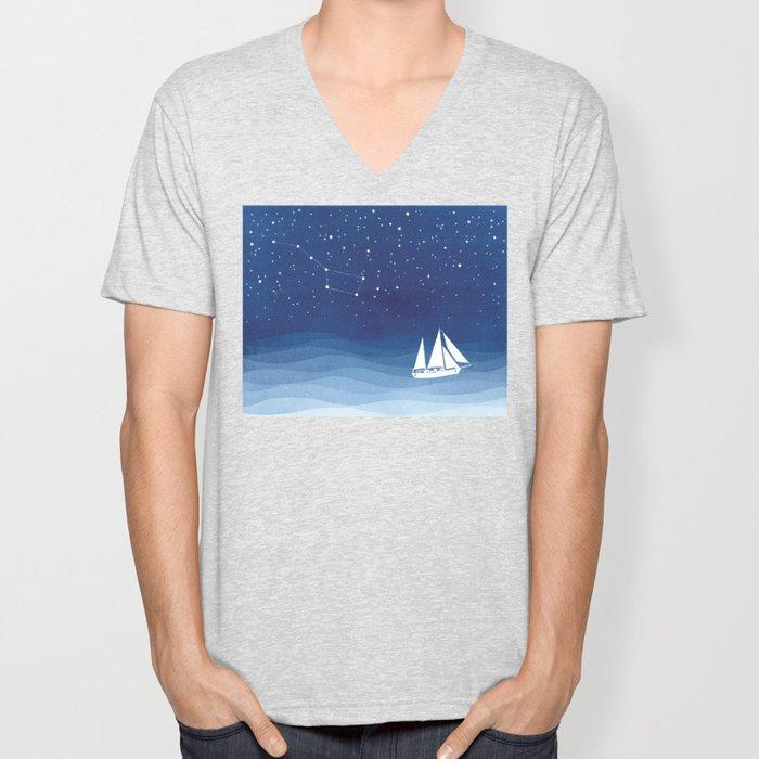 big dipper, sailboat Unisex V-Neck