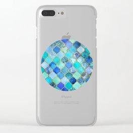 Cobalt Blue, Aqua & Gold Decorative Moroccan Tile Pattern Clear iPhone Case