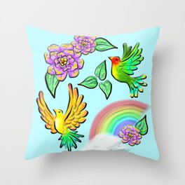 Birds Flowers and Rainbows Doodle Pattern Throw Pillow