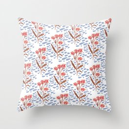 Painted Floral - Periwinkle Throw Pillow