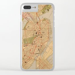 Vintage Map of Boston MA (1902) Clear iPhone Case