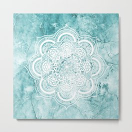 Mandala on teal marble. Metal Print