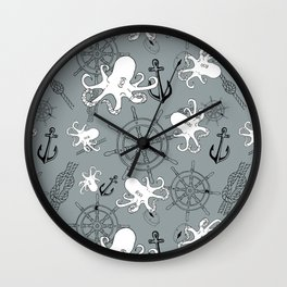 Grey Scattering Octopuses Wall Clock