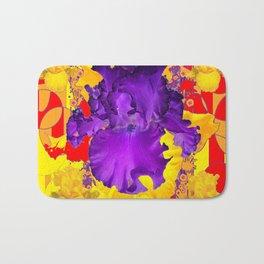Amethyst Purple Iris Geometric Red & Gold Patterns Bath Mat