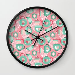 Abstract mauve pink green white sweet pattern Wall Clock