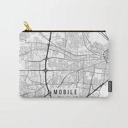 Mobile Map, Alabama USA - Black & White Portrait Carry-All Pouch