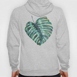Monstera leaf green tropical watercolor Hoody