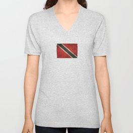 Old and Worn Distressed Vintage Flag of Trinidad and Tobago Unisex V-Neck