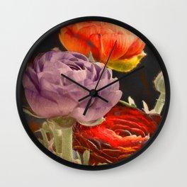 Vintage Ranunculus Wall Clock