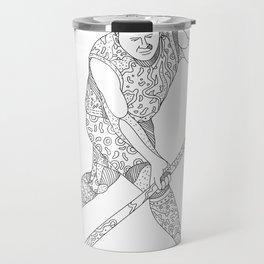 Field Hockey Player Doodle Travel Mug