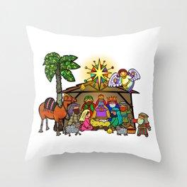 Christmas Nativity Cartoon Doodle Throw Pillow