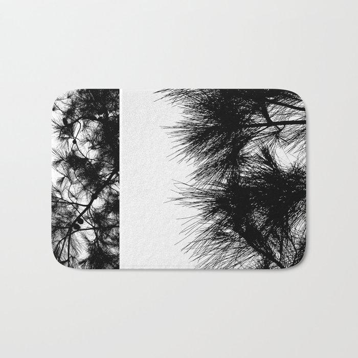 Mediterranean black and white pine tree Bath Mat