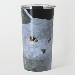 Low poly british cat Travel Mug