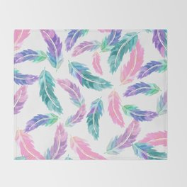 Pastel pink turquoise hand painted watercolor feathers pattern Throw Blanket
