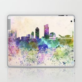 Lyon skyline in watercolor background Laptop & iPad Skin