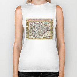 Vintage Map of Spain and Portugal (1747) Biker Tank