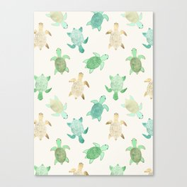 Gilded Jade & Mint Turtles Canvas Print