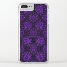 Violet Flower, rustic floral pattern, ultra-violet Clear iPhone Case